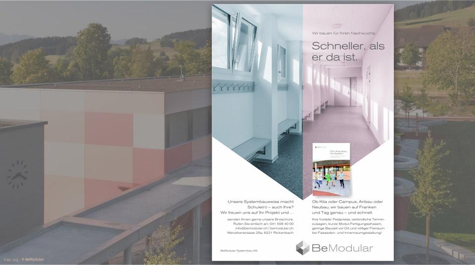 Ganzseitiges-Inserat_Systembau_Schulhaus_Rickenbach_Grafik-Text_BeModular_Kas_deSIGNjpg